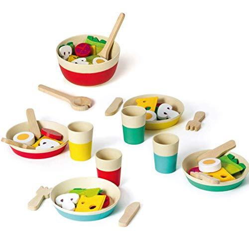 Realizzato in legno robusto, materiali a misura di bambino e la vernice a base d'acqua 43 piece Servizio di insalata: include una ciotola di insalata, formaggio, fette di pomodoro, uova e più Un'insalata e cucina colorati utensili in grado di attirar...