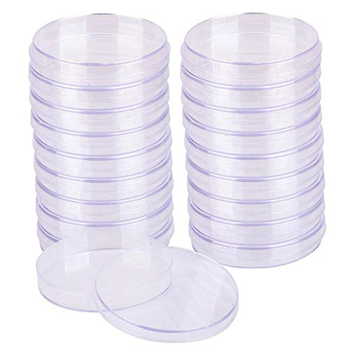 20 Piezas Placas de Petri, Placas Petri de Tejido Celular Laboratorio, con tapa,Bandeja de cultivo bacteriano,Plastico Placas de Petri esterilizadas, Placas de Petri de Celular Transparente
