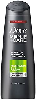 Dove Men+Care 2 in 1 Shampoo and Conditioner, Fresh and Clean Fortifying, 355ml