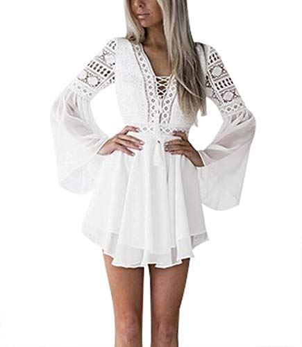 Lace Dresses for Women Crochet High Waisted Solid Color Elegent Ruffle Short Dress White