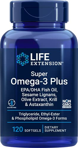 Life Extension Super Omega-3 Plus EPA/DHA Fish Oil, Sesame Lignans, Olive Extract, Krill & Astaxanthin - Heart, Brain & Joint Health Support - Gluten-Free, Non-GMO - 120 Softgels