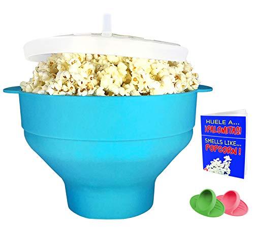 Crisolux Palomitero microondas Silicona Recipiente para Hacer Palomitas en el microondas Grande popcron Bowl para Hacer Palomitas microondas popup