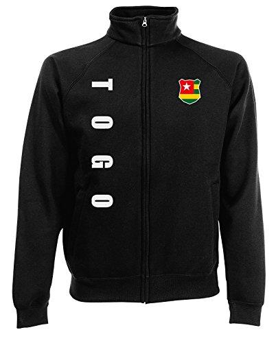 AkyTEX Togo Sweatjacke Jacke Trikot Wunschname Wunschnummer (Schwarz, L)