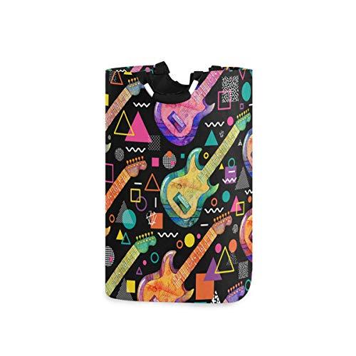 ZOMOY Multifunktionale Faltbarer Schmutzige Kleidung Wäschekorb,Nahtloses Muster Aquarell E Gitarre dekorativ,Household Wäschebox Spielzeug Organizer Aufbewahrungsbeutel mit Henkel
