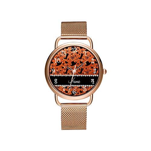 Vrouwen horloges merk dames mesh riem ultradunne horloge waterdicht horloge kwartshorloge Kerstmis aangepaste naam Oranje Glitter Cowboylaarzen hoeden polshorloges