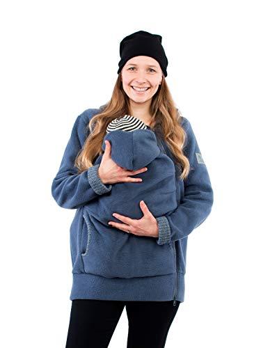 Viva la Mama - Tragejacke Baby warm Fleece Umstandsjacke schwanger Winter Jacke günstig Damen Babytragen Kängurujacke - AHOI - stahlblau Fischgräte - S