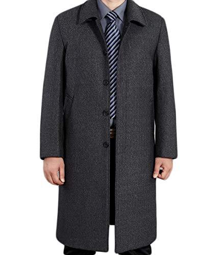 PFSYR Herbst und Winter verdicken Keep Warm Wollmantel, Männer Lange Abschnitt Revers Woolen Trenchcoat Jacke (Farbe : Gray, größe : L)