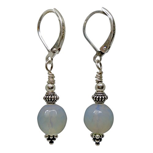 Ruby Mode Opal Ball and Bali Sterling Silver Grape Pyramid Short Earrings