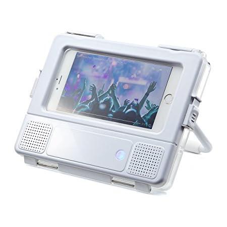 サンワダイレクト iPhone6s Plus スマートフォン 防水スピーカー 【お風呂での動画鑑賞に】 スタンド機能付 2W 電池駆動 カメラ撮影対応 400-SP061