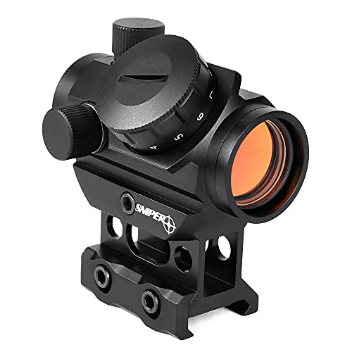 Sniper RD20 1x22mm 4MOA Red Dot Sight Fits 20mm Picatinny/Weaver Rail with 1 Inch Riser Mount, Crossbow Sight