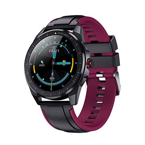 WEINANA Reloj inteligente con cuerpo de metal superdelgado, frecuencia cardíaca, presión arterial, música, 30 m de profundidad, IP68, resistente al agua, pulsera inteligente (color: D)