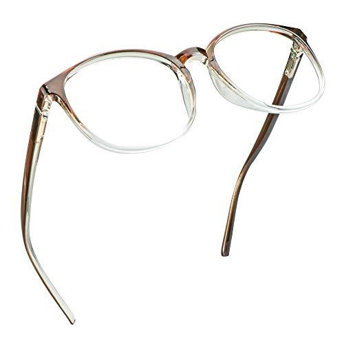 LifeArt Blaue Licht Blockieren Brille, Anti-Augen-Müdigkeit, Computer Lesebrillen, TV Brille für Frauen Männer (Transparentes Braun, Nein Vergrößerung)