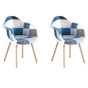 Design ergonomico: sedie da pranzo con schienale e bracciolo, angoli e bordi arrotondati ergonomici, più comode per sedersi. Robusto e durevole: realizzato con gambe in legno massello con materiale di lino per una maggiore durata, la struttura segue ...
