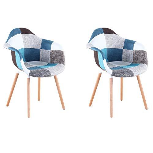 Lot de 2 Fauteuil Patchwork Multicolore Tissu de Lin Loisirs Salon chaises d'angle chaises de réception avec Dossier Coussin Doux (Bleu)