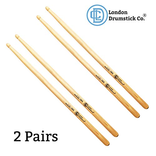 London Drumstick Company Classic Hickory Series 5BX Wood Tip Hickory Drumsticks (2-Pack)