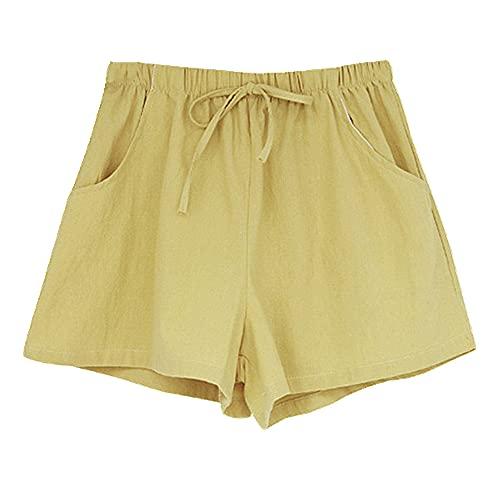 N\P Pantalones cortos de lino de algodón casual de verano de las mujeres más tamaño cintura media