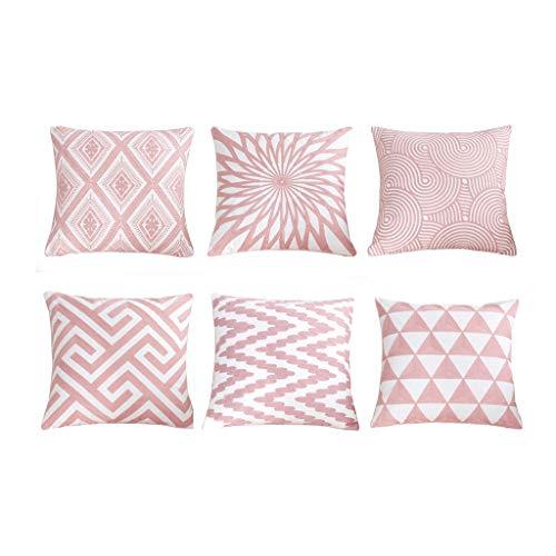 SIMPVALE Juego de 6 Fundas de cojín con Bordado de para decoración de Muebles de jardín,Color Rosa, 45cm x 45cm, Rosa, 6 * 18x18