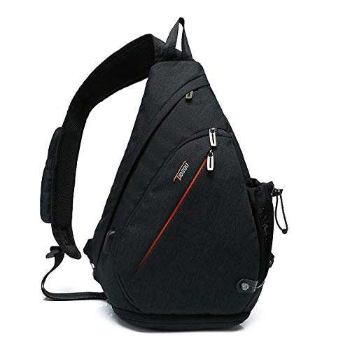TUDEQU Crossbody Backpack Sling Chest Bag Backpack Casual Daypack with Dry Wet Separation And USB Port for Men & Women (Black)