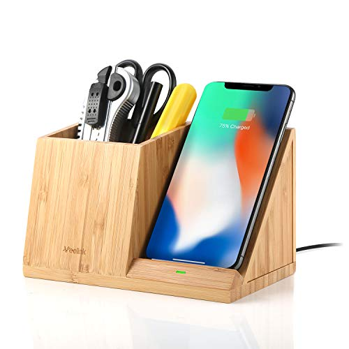 Veelink Bamboo Wireless-Ladegerät mit Desk Organizer, Stifthalter Wireless Ladestation für iPhone XS MAX/XS/XR/X / 8/8 Plus Samsung Galaxy S10 / S9 / S7 / S7 / S6 Edge Plus/Note 9/8