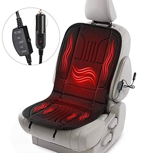TWING Heated Car Seat Cushion, DC 12V Heated Car Seat Cover with Intelligent Temperature Controller & Timer Setting, Winter Universial Car Seat Warmer for Car Truck SUV MPV