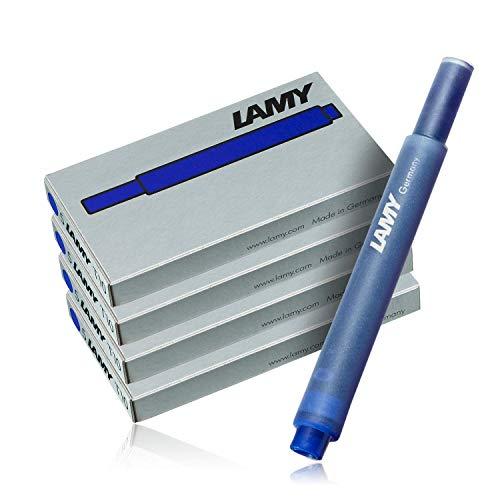 Cartuchos de tinta para pluma estilográfica Lamy, T10, color azul, 4 paquetes (20 cartuchos)