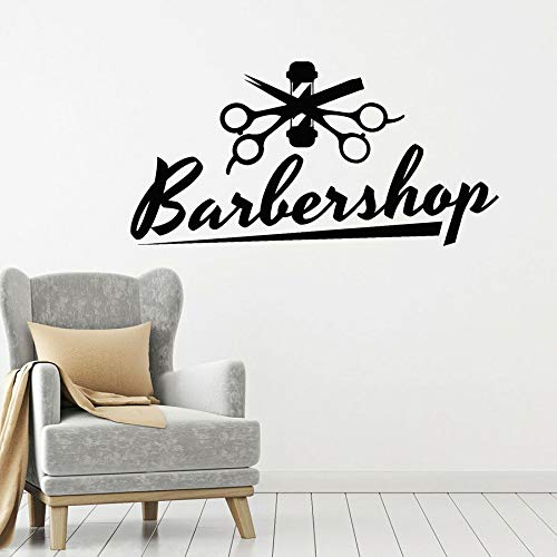 HGFDHG Letras calcomanías de Pared peluquería Corte de Pelo y Tijeras de Afeitar Pelo decoración de Interiores Vinilo Pegatina de Ventana Arte Mural Creativo