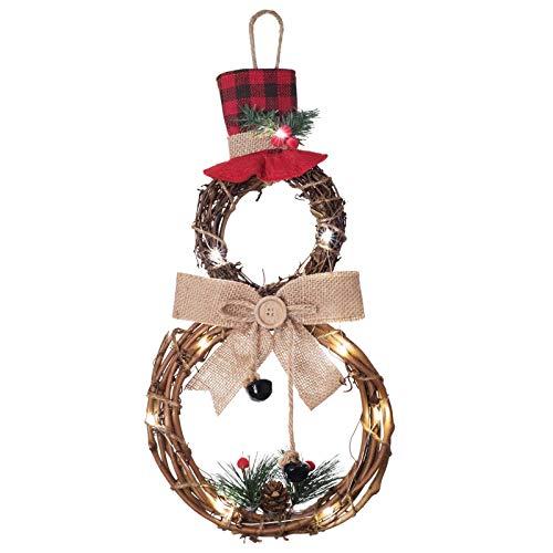 YQing Ghirlanda Natalizia con LED, 40.6cm x 20cm Pupazzo di Neve Ghirlanda Natale per Porta con Bacche Rosse e Pigne, in Rattan con Fiocco e Campane per Decorazione Parete Porta d'ingresso