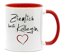 Nice-Presents-de Tasse Ziemlich Beste Kollegin für die Lieblingskollegin im Büro zum Abschied oder einfach nur mal so. EIN nettes Danke am Arbeitsplatz. (Rot)