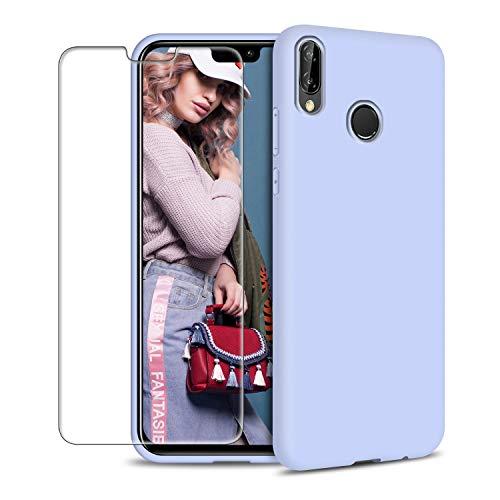Funda Huawei P20 Lite + Protector de Pantalla de Vidrio Templado, Carcasa Ultra Fino Suave Flexible Silicona Colores del Caramelo Protectora Caso Anti-rasguños Back Case - Morado Claro