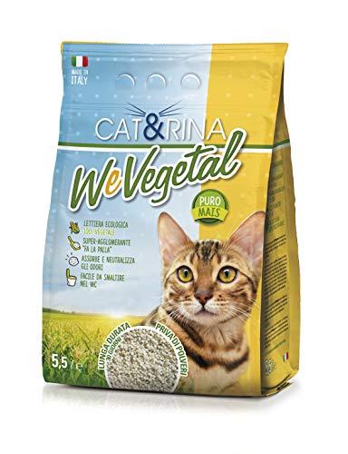 Cat&Rina Wevegetal Lettiera per Gatti al Mais Lettiera Ecologica Vegetale, 5.5 L