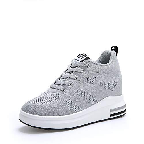 AONEGOLD® Damen Sneaker Wedges mit Keilabsatz 8cm Turnschuhe Atmungsaktive Freizeitschuhe Sportschuhe Schwarz Weiß Rosa Grau(Grau,Größe 36)