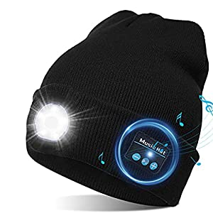 Bluetooth Beanie, LED Beanie Hat with Light, Gifts for Men&Women Headlamp Headphone Beanie USB Rechargeable Lighted Cap…