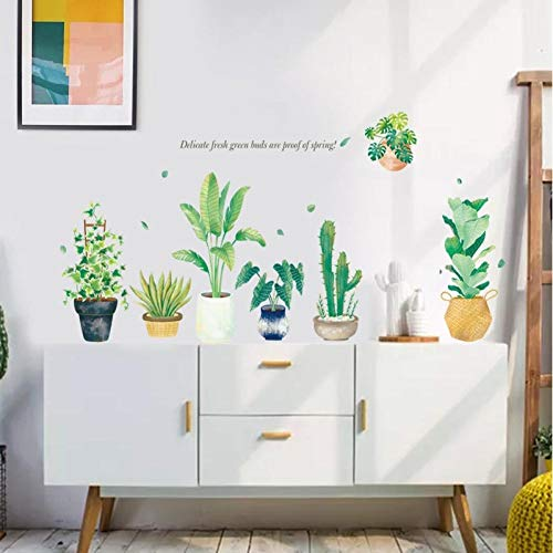 KJLTLD Blumentopf PVC wasserdichte Aufkleber Dekoration Aufkleber junge Mädchen Raum Tapete DIY Kunst Wandaufkleber-entfernbar