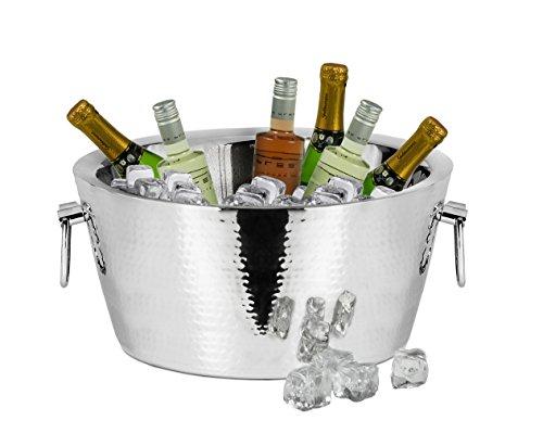 EDZARD Champagnerkühler Ontario, Edelstahl, doppelwandig, außen gehämmert, Ø 38 cm, Höhe 18 cm, Perfekter Flaschenkühler Weinkühler Sektkühler, mindestens 8 Stunden isolierend