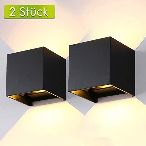 AILUKI LED Wandlampe Wandleuchte Innen/Außen 12W 2800-3000K Warmweiß Außenleuchte Wandbeleuchtung LED Außenwandleuchte mit Einstellbar Abstrahlwinkel IP65 Wasserdichte 1000lm