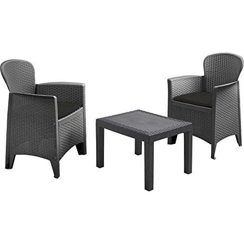 idooka Tea for 2 Balcony Conservatory Patio Outdoor Garden Furniture Set With Grey Cushions Black Rattan Style Design 3 Piece with Grey Coffee Table and Two Plastic Anthracite Bistro Chairs