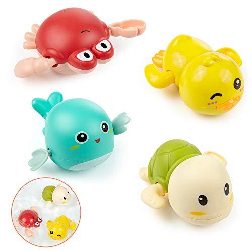 WolinTek 4 Piezas Juguetes de Baño para Bebés,Tortuga de Natación de Aparato de Relojería, Niños Juguete de Baño Tortuga Animal Juguete de Beñera para Bebé y Niñas