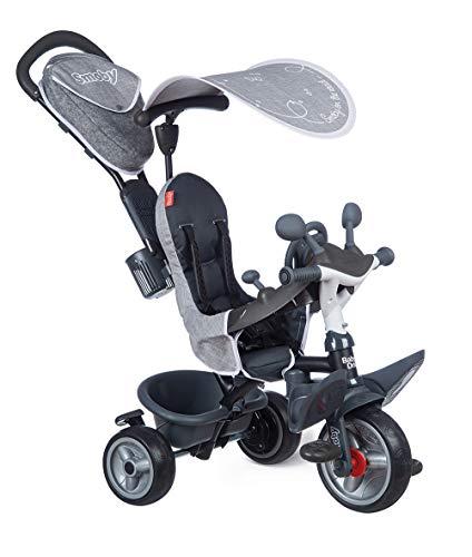 Smoby 741502 Triciclo Baby Driver Plus - Bicicletta evolutiva per bambini dai 10 mesi, ruote silenziose, freno di parcheggio