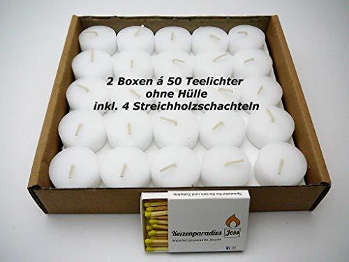100 Teelichter Weiß ohne Hülle, inkl. 4 Streichholzschachteln, Rohlinge, Nachfüllpack, 4 Stunden Brenndauer, ohne Duft, ohne Aluhülle - Kunststoffhülle, für Glasbehälter, Zündhölzer, Streichhölzer