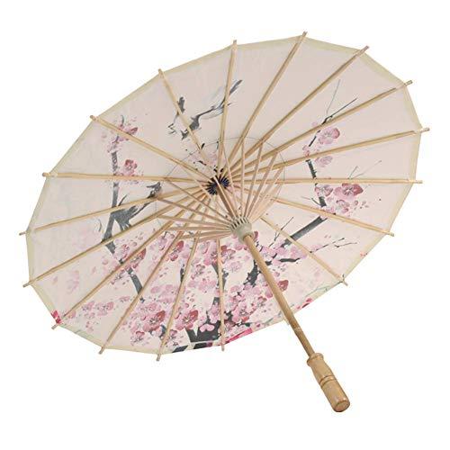 """Dkhsy Paraguas de Papel engrasado Paraguas asiático japonés Chino Disfraces de Boda Accesorios de Danza Blanco 44cm/17.3""""(Handle Length)"""