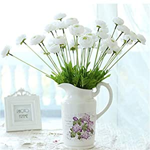 Mynse 6 Pieces 4 Flower Head Artificial Lu Lian Flowers Silk Ranunculus Flowers for Home Balcony Decoration (White)