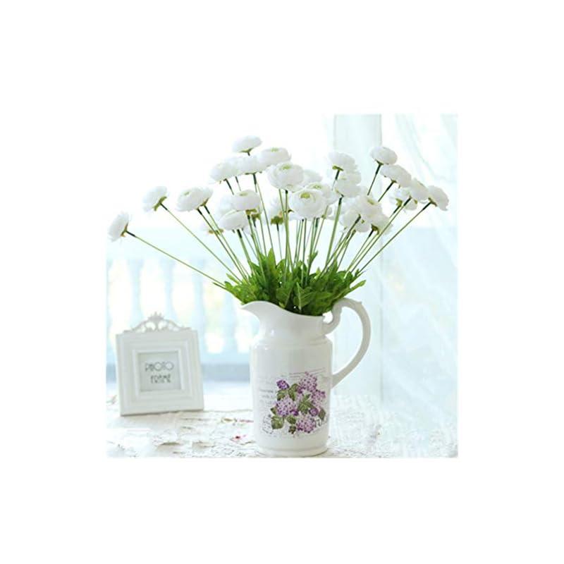 silk flower arrangements mynse 6 pieces 4 flower head artificial lu lian flowers silk ranunculus flowers for home balcony decoration (white)