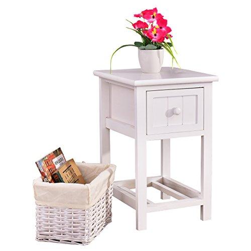 COSTWAY Nachttisch mit Korb und Schublade, Nachtkonsole aus Holz, Nachtschrank, Nachtkommode, Beistelltisch, Beistellschrank, Flurtisch mit Schublade (weiß)