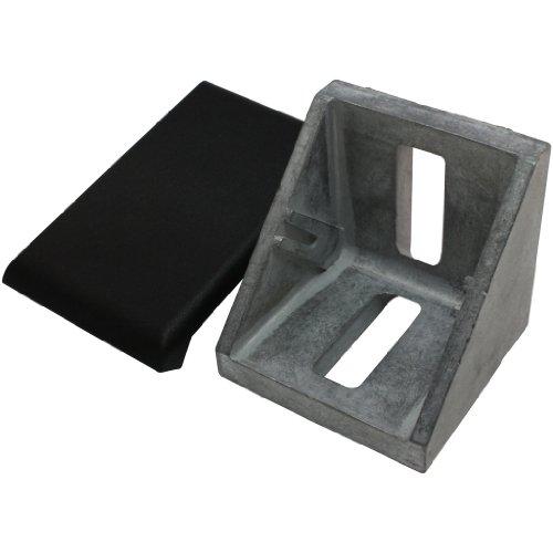 Set Winkel und Abdeckkappe 40, 40x40x40 mm M8 Nut 8 Zink blank