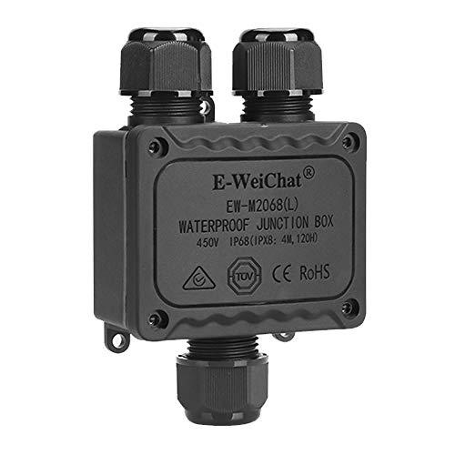 qipuneky Cajas de Empalmes IP68 Caja de Conexiones Impermeable Eléctricas 3 vías para 4mm-8mm Diámetro del Cable Conector Exterior Cable (1 Pack) (Negro)
