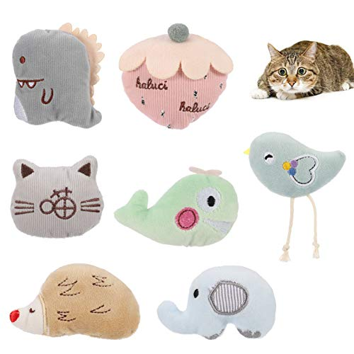 FRIUSATE 7 Pieces Katzenminze Plüsch Spielzeug, Plüsch Katzenspielzeug Katzenminze Set für Katzen Kitten Interaktives