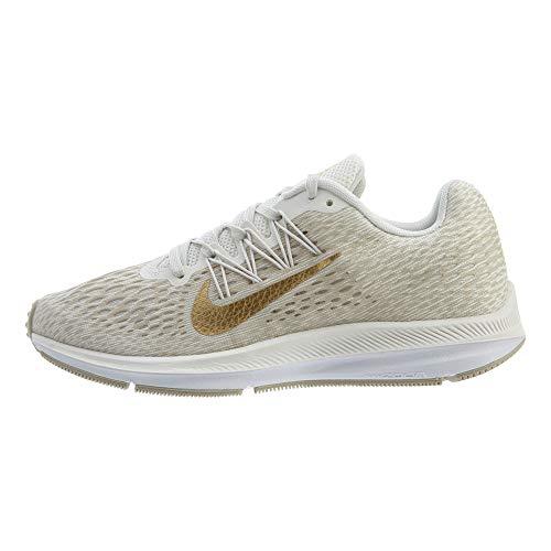 Nike Women's Air Zoom Winflo 5 Running Shoe, Phantom/Metallic Gold-String-White, 8