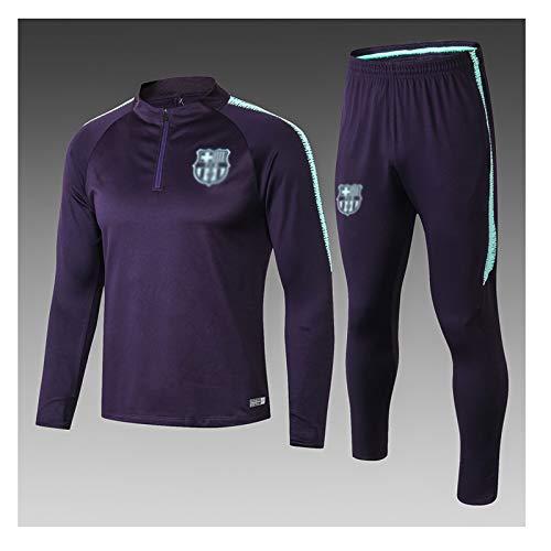 Traje de entrenamiento de jersey de fútbol Traje de fútbol de manga larga deportiva transpirable Ropa de deporte Formación azul europea club de fútbol de los hombres (Top Pantalones +) -ZQY-A1763 Traj