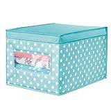 mDesign Caja organizadora grande de tela – Caja de almacenaje apilable con tapa y ventanilla para ordenar armarios y guardar ropa – Organizador de armarios de lunares – azul turquesa/blanco