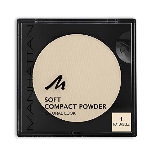 Manhattan Soft Compact Powder, Helles Kompakt Puder mit Puderquaste für einen matten, ebenmäßigen Teint, Farbe Naturelle 1, 1 x 9g